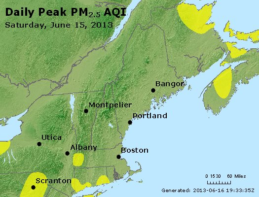 Peak Particles PM<sub>2.5</sub> (24-hour) - http://files.airnowtech.org/airnow/2013/20130615/peak_pm25_vt_nh_ma_ct_ri_me.jpg
