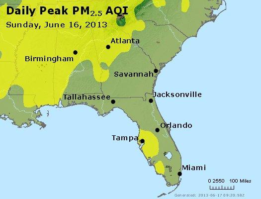 Peak Particles PM<sub>2.5</sub> (24-hour) - http://files.airnowtech.org/airnow/2013/20130616/peak_pm25_al_ga_fl.jpg