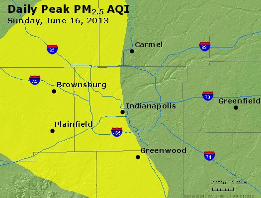 Peak Particles PM<sub>2.5</sub> (24-hour) - http://files.airnowtech.org/airnow/2013/20130616/peak_pm25_indianapolis_in.jpg