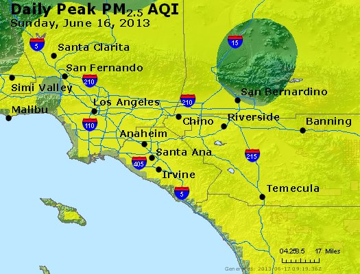 Peak Particles PM<sub>2.5</sub> (24-hour) - http://files.airnowtech.org/airnow/2013/20130616/peak_pm25_losangeles_ca.jpg