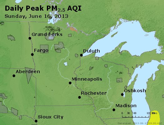 Peak Particles PM<sub>2.5</sub> (24-hour) - http://files.airnowtech.org/airnow/2013/20130616/peak_pm25_mn_wi.jpg