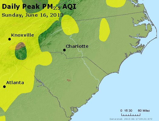 Peak Particles PM<sub>2.5</sub> (24-hour) - http://files.airnowtech.org/airnow/2013/20130616/peak_pm25_nc_sc.jpg