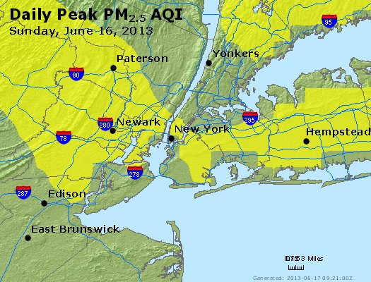 Peak Particles PM<sub>2.5</sub> (24-hour) - http://files.airnowtech.org/airnow/2013/20130616/peak_pm25_newyork_ny.jpg