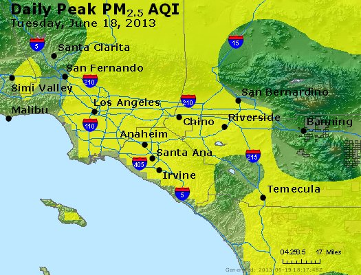 Peak Particles PM<sub>2.5</sub> (24-hour) - http://files.airnowtech.org/airnow/2013/20130618/peak_pm25_losangeles_ca.jpg