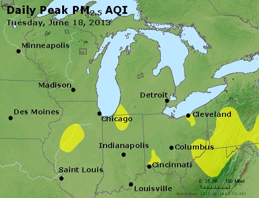 Peak Particles PM<sub>2.5</sub> (24-hour) - http://files.airnowtech.org/airnow/2013/20130618/peak_pm25_mi_in_oh.jpg