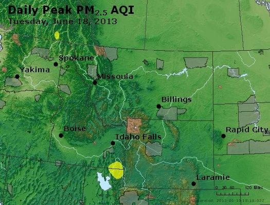 Peak Particles PM<sub>2.5</sub> (24-hour) - http://files.airnowtech.org/airnow/2013/20130618/peak_pm25_mt_id_wy.jpg
