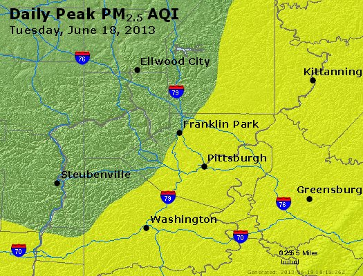 Peak Particles PM<sub>2.5</sub> (24-hour) - http://files.airnowtech.org/airnow/2013/20130618/peak_pm25_pittsburgh_pa.jpg