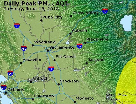 Peak Particles PM<sub>2.5</sub> (24-hour) - http://files.airnowtech.org/airnow/2013/20130618/peak_pm25_sacramento_ca.jpg