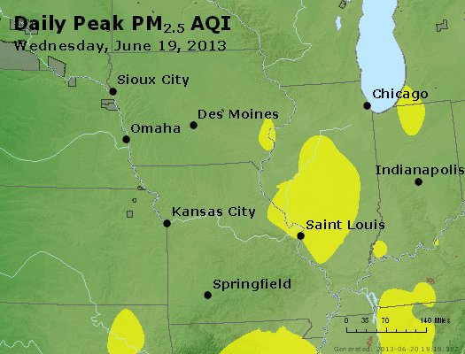Peak Particles PM<sub>2.5</sub> (24-hour) - http://files.airnowtech.org/airnow/2013/20130619/peak_pm25_ia_il_mo.jpg