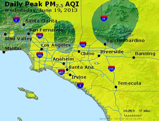 Peak Particles PM<sub>2.5</sub> (24-hour) - http://files.airnowtech.org/airnow/2013/20130619/peak_pm25_losangeles_ca.jpg