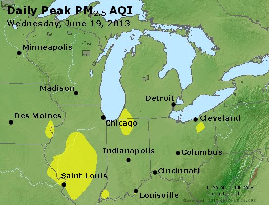 Peak Particles PM<sub>2.5</sub> (24-hour) - http://files.airnowtech.org/airnow/2013/20130619/peak_pm25_mi_in_oh.jpg