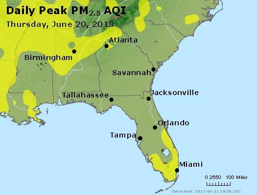 Peak Particles PM<sub>2.5</sub> (24-hour) - http://files.airnowtech.org/airnow/2013/20130620/peak_pm25_al_ga_fl.jpg