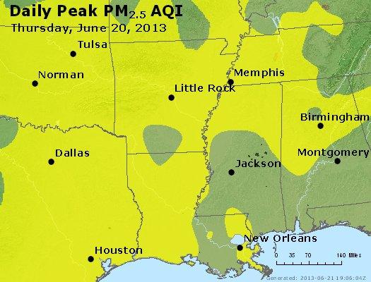 Peak Particles PM<sub>2.5</sub> (24-hour) - http://files.airnowtech.org/airnow/2013/20130620/peak_pm25_ar_la_ms.jpg