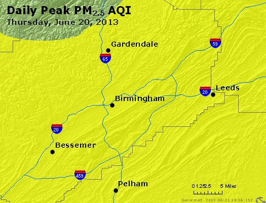 Peak Particles PM<sub>2.5</sub> (24-hour) - http://files.airnowtech.org/airnow/2013/20130620/peak_pm25_birmingham_al.jpg