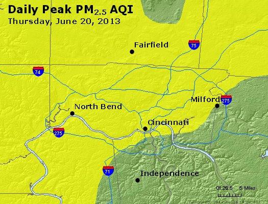 Peak Particles PM<sub>2.5</sub> (24-hour) - http://files.airnowtech.org/airnow/2013/20130620/peak_pm25_cincinnati_oh.jpg