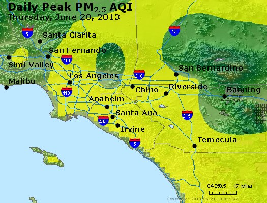 Peak Particles PM<sub>2.5</sub> (24-hour) - http://files.airnowtech.org/airnow/2013/20130620/peak_pm25_losangeles_ca.jpg