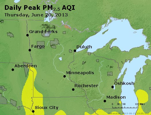 Peak Particles PM<sub>2.5</sub> (24-hour) - http://files.airnowtech.org/airnow/2013/20130620/peak_pm25_mn_wi.jpg