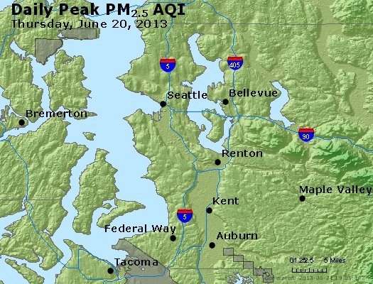 Peak Particles PM<sub>2.5</sub> (24-hour) - http://files.airnowtech.org/airnow/2013/20130620/peak_pm25_seattle_wa.jpg