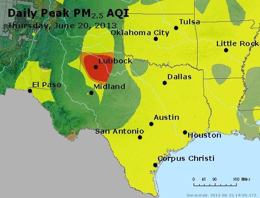 Peak Particles PM<sub>2.5</sub> (24-hour) - http://files.airnowtech.org/airnow/2013/20130620/peak_pm25_tx_ok.jpg