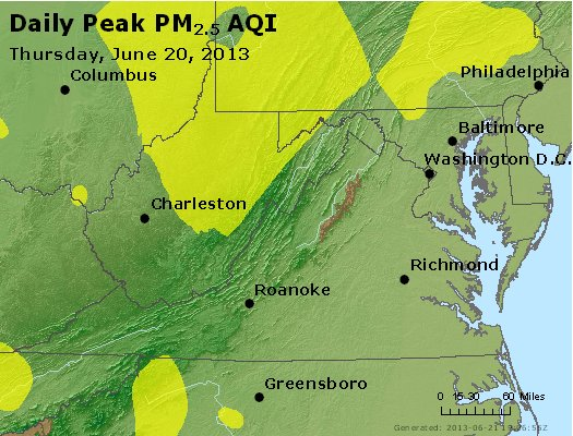Peak Particles PM<sub>2.5</sub> (24-hour) - http://files.airnowtech.org/airnow/2013/20130620/peak_pm25_va_wv_md_de_dc.jpg