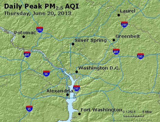 Peak Particles PM<sub>2.5</sub> (24-hour) - http://files.airnowtech.org/airnow/2013/20130620/peak_pm25_washington_dc.jpg