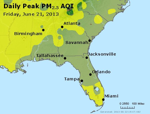 Peak Particles PM<sub>2.5</sub> (24-hour) - http://files.airnowtech.org/airnow/2013/20130621/peak_pm25_al_ga_fl.jpg