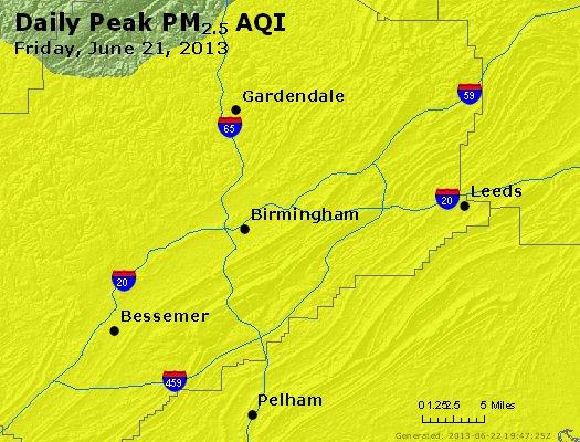 Peak Particles PM<sub>2.5</sub> (24-hour) - http://files.airnowtech.org/airnow/2013/20130621/peak_pm25_birmingham_al.jpg