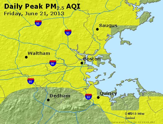 Peak Particles PM<sub>2.5</sub> (24-hour) - http://files.airnowtech.org/airnow/2013/20130621/peak_pm25_boston_ma.jpg