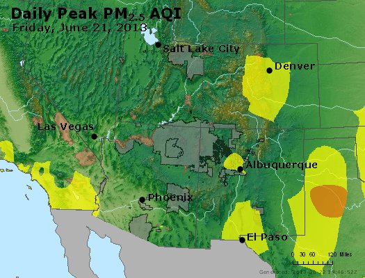 Peak Particles PM<sub>2.5</sub> (24-hour) - http://files.airnowtech.org/airnow/2013/20130621/peak_pm25_co_ut_az_nm.jpg