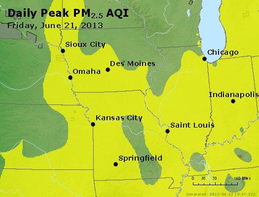 Peak Particles PM<sub>2.5</sub> (24-hour) - http://files.airnowtech.org/airnow/2013/20130621/peak_pm25_ia_il_mo.jpg