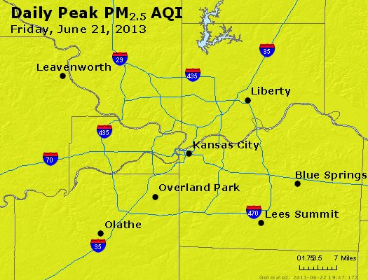 Peak Particles PM<sub>2.5</sub> (24-hour) - http://files.airnowtech.org/airnow/2013/20130621/peak_pm25_kansascity_mo.jpg