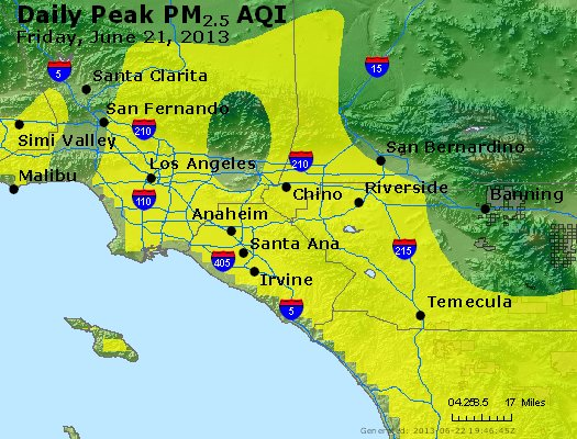 Peak Particles PM<sub>2.5</sub> (24-hour) - http://files.airnowtech.org/airnow/2013/20130621/peak_pm25_losangeles_ca.jpg