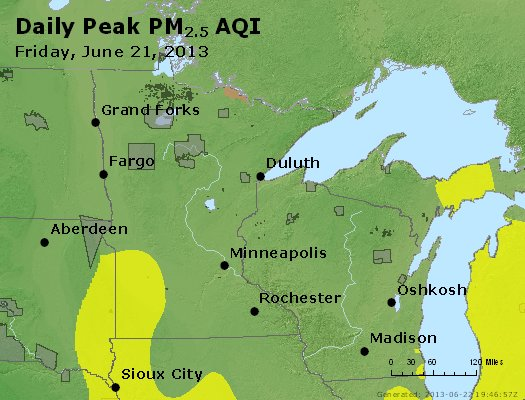 Peak Particles PM<sub>2.5</sub> (24-hour) - http://files.airnowtech.org/airnow/2013/20130621/peak_pm25_mn_wi.jpg