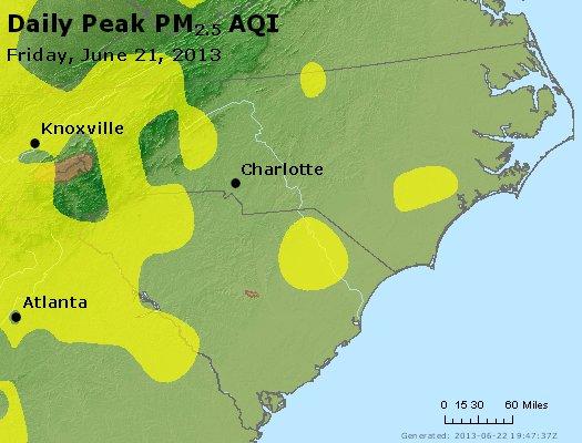 Peak Particles PM<sub>2.5</sub> (24-hour) - http://files.airnowtech.org/airnow/2013/20130621/peak_pm25_nc_sc.jpg
