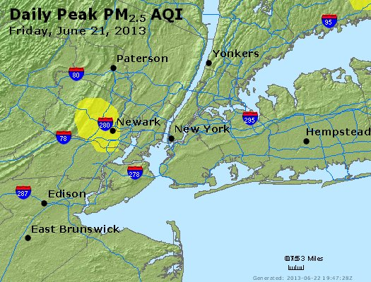Peak Particles PM<sub>2.5</sub> (24-hour) - http://files.airnowtech.org/airnow/2013/20130621/peak_pm25_newyork_ny.jpg