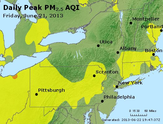 Peak Particles PM<sub>2.5</sub> (24-hour) - http://files.airnowtech.org/airnow/2013/20130621/peak_pm25_ny_pa_nj.jpg