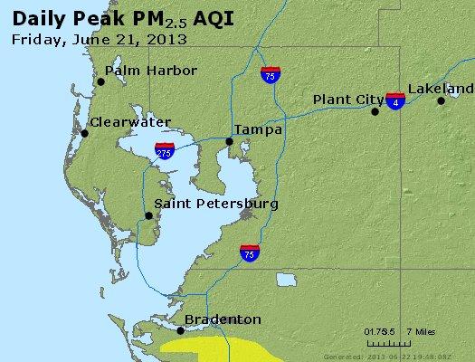 Peak Particles PM<sub>2.5</sub> (24-hour) - http://files.airnowtech.org/airnow/2013/20130621/peak_pm25_tampa_fl.jpg