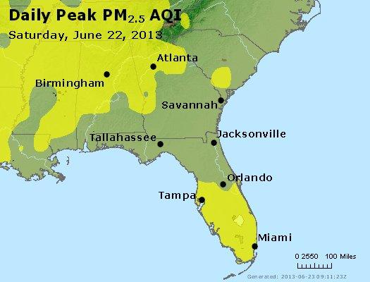 Peak Particles PM<sub>2.5</sub> (24-hour) - http://files.airnowtech.org/airnow/2013/20130622/peak_pm25_al_ga_fl.jpg
