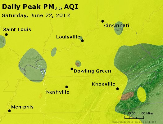 Peak Particles PM<sub>2.5</sub> (24-hour) - http://files.airnowtech.org/airnow/2013/20130622/peak_pm25_ky_tn.jpg