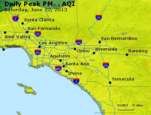 Peak Particles PM<sub>2.5</sub> (24-hour) - http://files.airnowtech.org/airnow/2013/20130622/peak_pm25_losangeles_ca.jpg