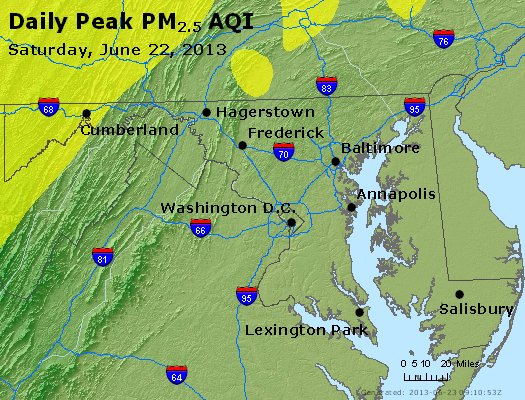 Peak Particles PM<sub>2.5</sub> (24-hour) - http://files.airnowtech.org/airnow/2013/20130622/peak_pm25_maryland.jpg