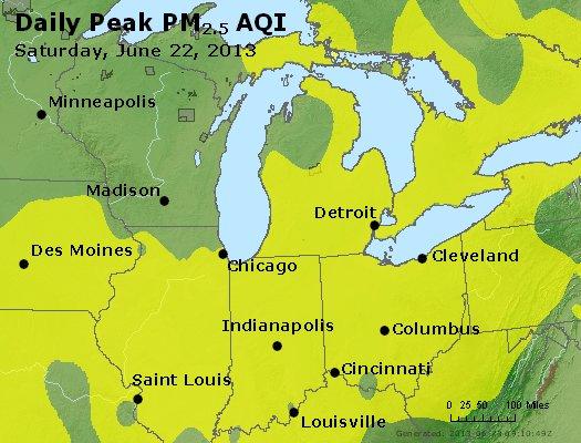 Peak Particles PM<sub>2.5</sub> (24-hour) - http://files.airnowtech.org/airnow/2013/20130622/peak_pm25_mi_in_oh.jpg