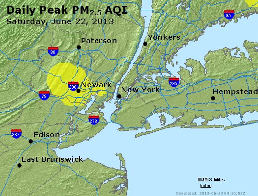 Peak Particles PM<sub>2.5</sub> (24-hour) - http://files.airnowtech.org/airnow/2013/20130622/peak_pm25_newyork_ny.jpg