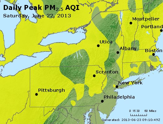 Peak Particles PM<sub>2.5</sub> (24-hour) - http://files.airnowtech.org/airnow/2013/20130622/peak_pm25_ny_pa_nj.jpg