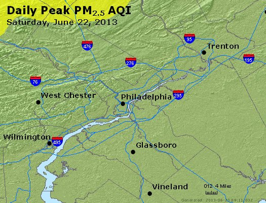 Peak Particles PM<sub>2.5</sub> (24-hour) - http://files.airnowtech.org/airnow/2013/20130622/peak_pm25_philadelphia_pa.jpg