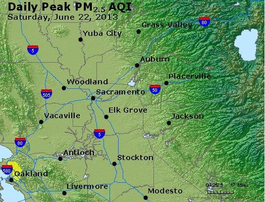 Peak Particles PM<sub>2.5</sub> (24-hour) - http://files.airnowtech.org/airnow/2013/20130622/peak_pm25_sacramento_ca.jpg