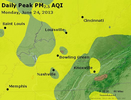 Peak Particles PM<sub>2.5</sub> (24-hour) - http://files.airnowtech.org/airnow/2013/20130624/peak_pm25_ky_tn.jpg