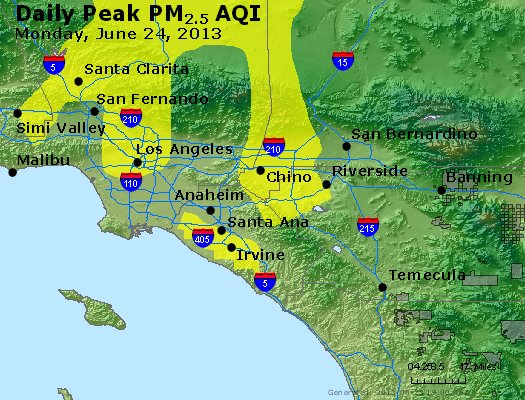 Peak Particles PM<sub>2.5</sub> (24-hour) - http://files.airnowtech.org/airnow/2013/20130624/peak_pm25_losangeles_ca.jpg