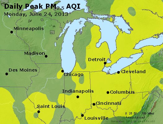 Peak Particles PM<sub>2.5</sub> (24-hour) - http://files.airnowtech.org/airnow/2013/20130624/peak_pm25_mi_in_oh.jpg