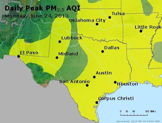 Peak Particles PM<sub>2.5</sub> (24-hour) - http://files.airnowtech.org/airnow/2013/20130624/peak_pm25_tx_ok.jpg